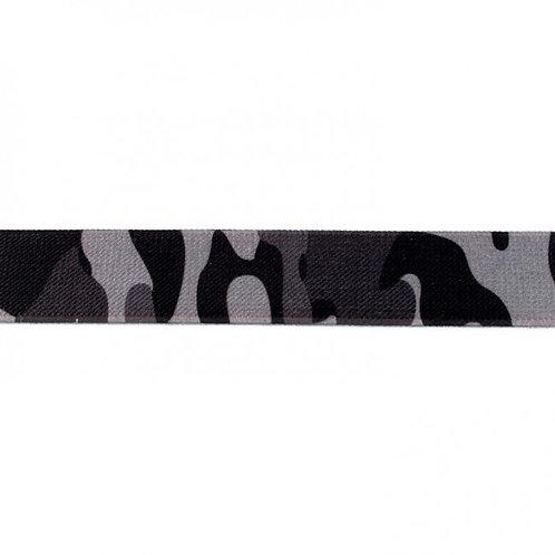 Elastique Imprimé 25 mm Camouflage Gris