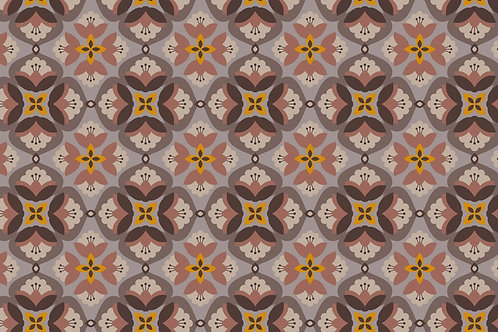 Sweat Bouclette Fleurs  Retro - Taupe