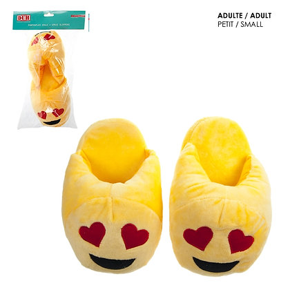EMOJI SLIPPERS, ADULT SIZE SMALL, HEART FACE