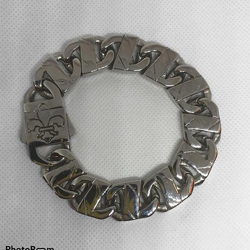 Stainless Steel Heavy Fleur de Lis link Bracelet