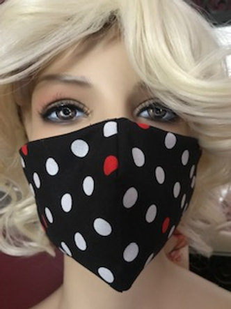 RED / WHITE POLKA DOTS FACE MASK