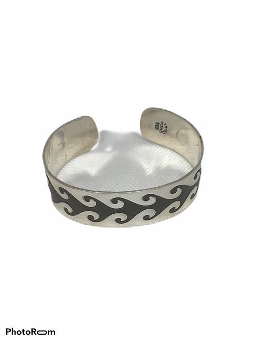 Sterling Silver TAXCO Cuff wave Bracelet ( unisex )