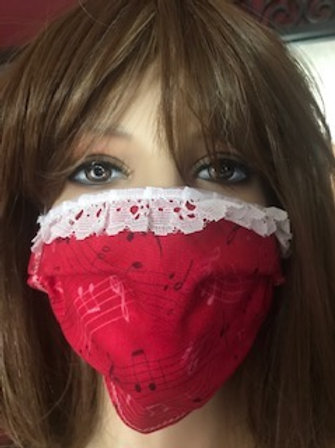 HANDMADE HOT PINK MUSIC FACE MASK