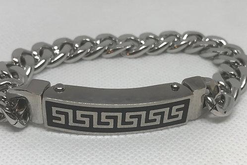 Stainless Steel Greek Mens' I.D. Bracelet
