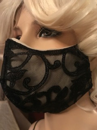 BLACK LACED FACE MASK