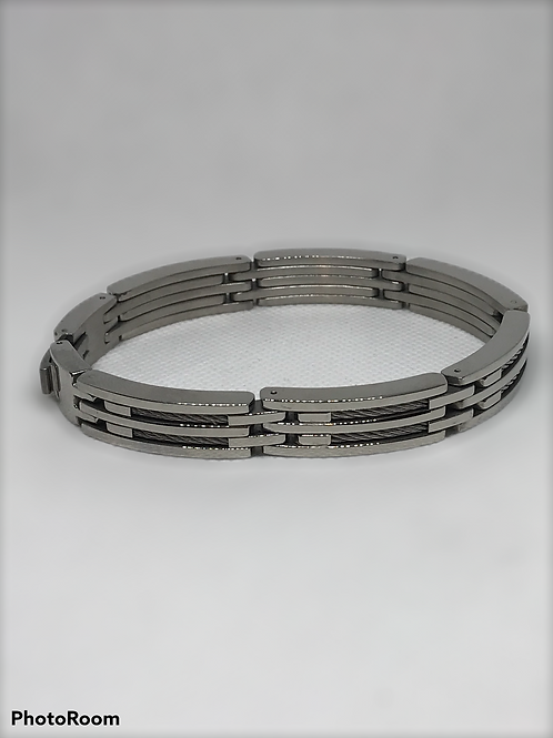 "Mens' Stainless Steel Double Cable Bracelet 8 1/2"" inch"