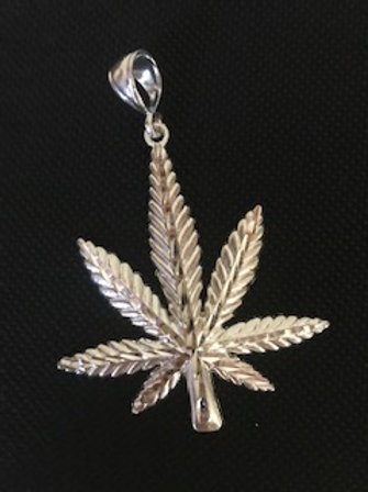 HEMP LEAF STERLING PENDANT 1 3/4""
