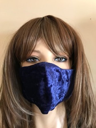 ROYAL BLUE CRUSHED VELVET FACE MASK