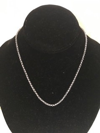 """UNISEX STAINLESS STEEL 18"""" INCH ROLO CHAIN NECKLACE"""