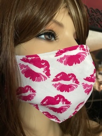 HOT PINK KISS LIPS FACE MASK