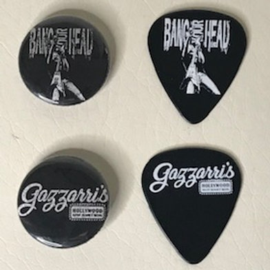 BANG YOUR HEAD / GAZZARRI'S PINS & GUITAR PICKS PACK