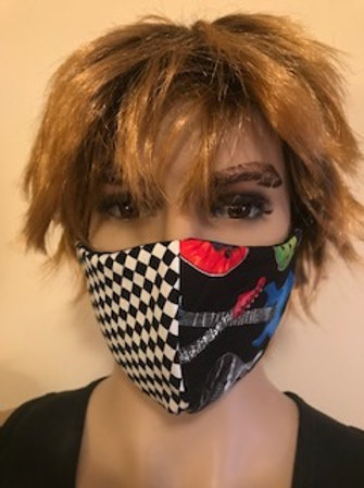 CHECKERED & FLAMES FACE MASK