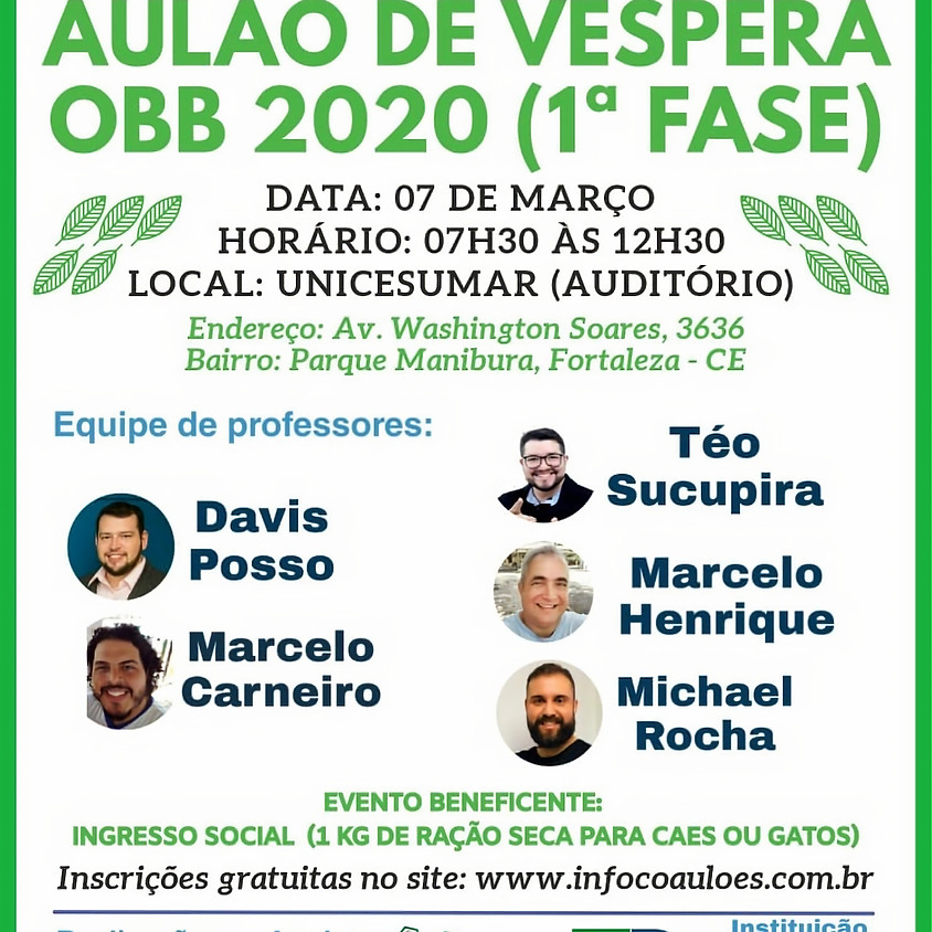 AULÃO BENEFICENTE OBB 2020 (1ª FASE)