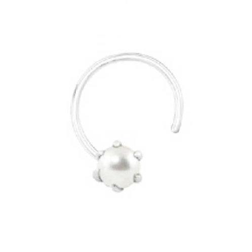 Vinayak Sterling Silver Color American Diamond Nose Pin (4 mm)