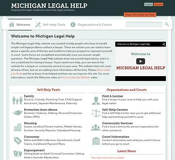 Michiganlegalhelp.org homepage.