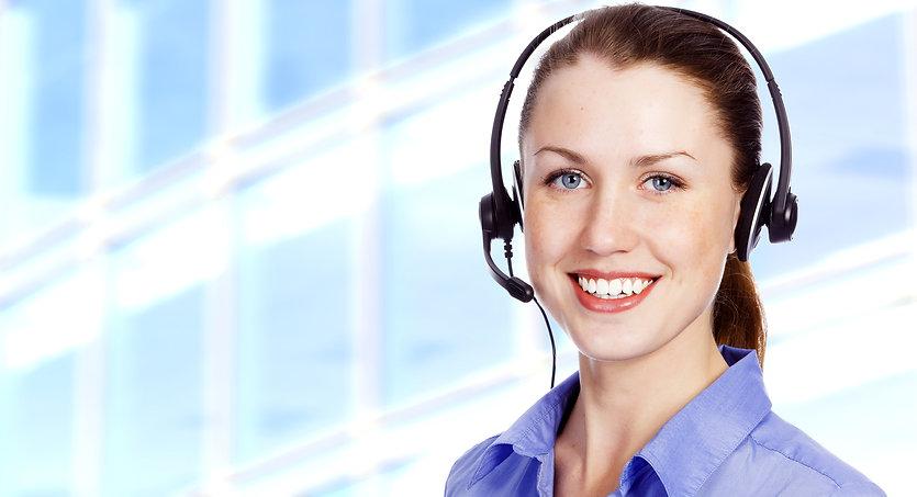 Phone operator wearing a headset.