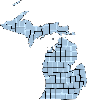 Map of Michigan with county borders