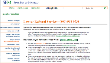 State Bar of Michigan Lawyer Referral Service.