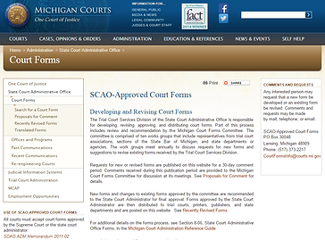 Michigan court approved forms.
