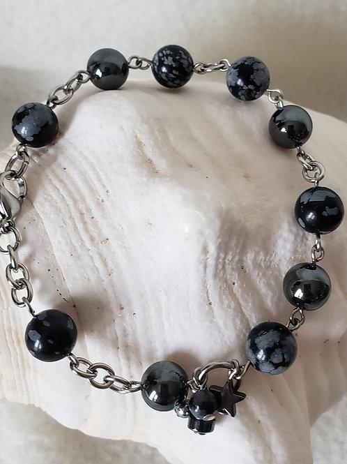Bracelet d'Obsidiennes floçon de neige