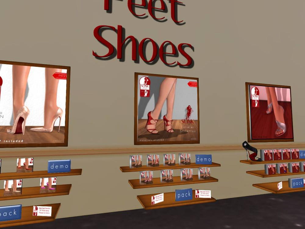 Slink Branded Virtual Shoes for virtual avatar in Second Life