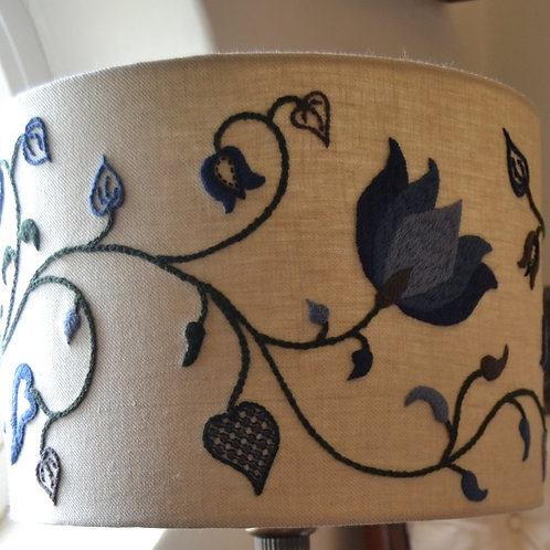 Embroidered Lampshade: Crewelwork 'Tendrils' Winter