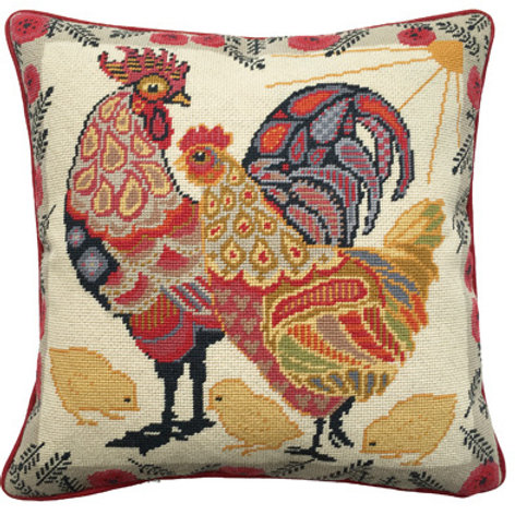 Painted Chickens Needlepoint Cushion Kit