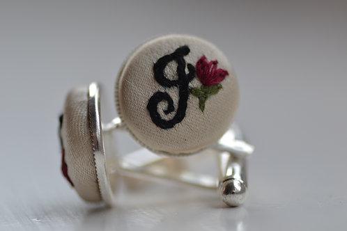 Sterling Silver Embroidered Cufflinks - Initials / Monogram