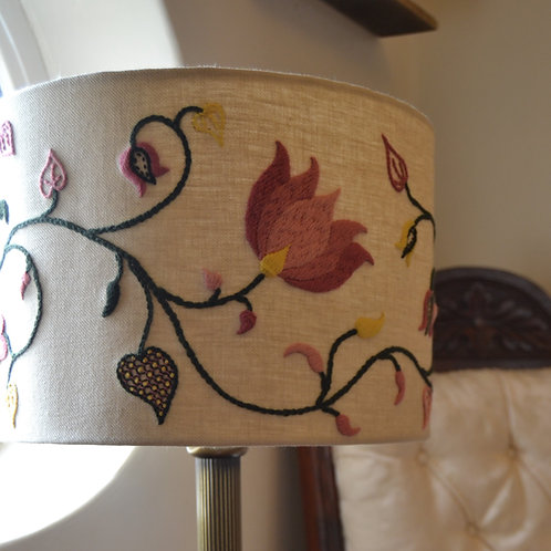 Crewelwork Lampshade - Spring