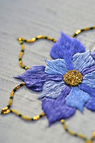 Silk & Goldwork Rose hand embroidery