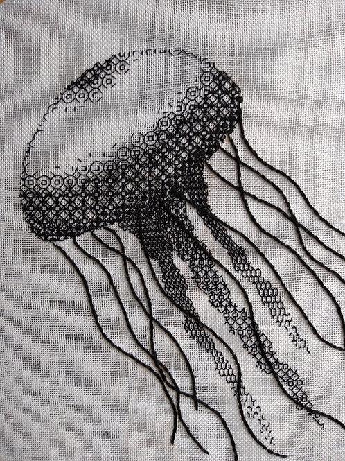 Blackwork Jellyfish Embroidery Kit