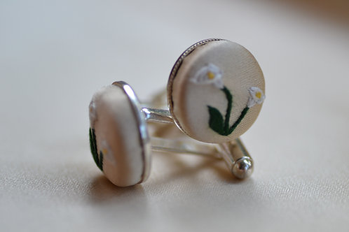 Sterling Silver Embroidered Cufflinks: Lilies