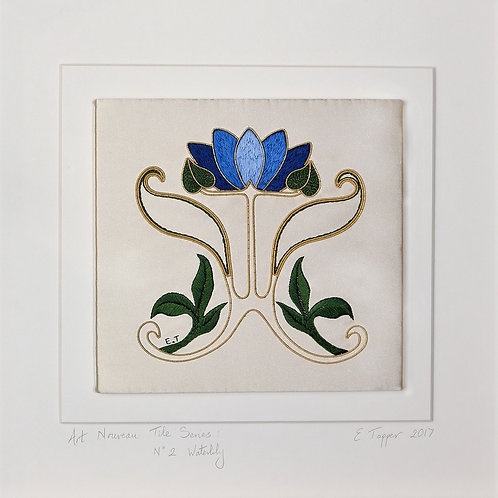 Embroidered Tile: Art Nouveau Waterlily