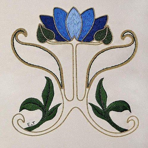 Silk & Metal Thread Art Nouveau Waterlily Embroidery Kit