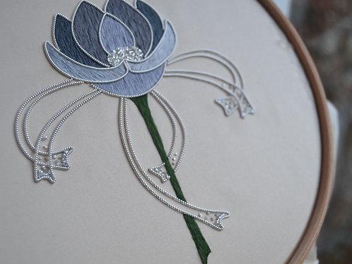 Silk & Metal Thread Art Nouveau Rose Embroidery Kit