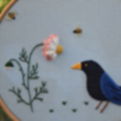 In the garden, applique, surface embroid