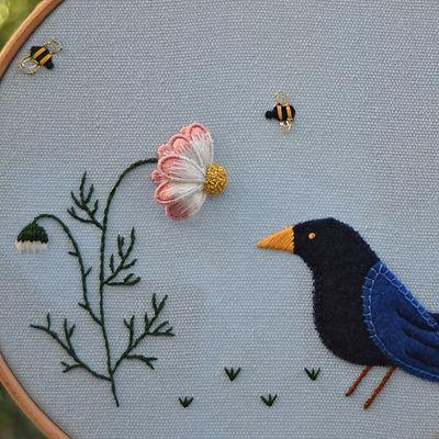 In the garden, applique, surface embroid