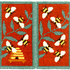 Red Bees Glasses Case Needlepoint Kit