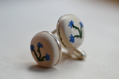Sterling Silver Embroidered Cufflinks: Blue Cornflowers