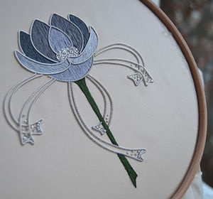 art nouveau rose silver metal thread silk hand embroidery