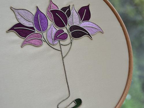 Silk & Metal Thread Art Nouveau Tree Embroidery Kit