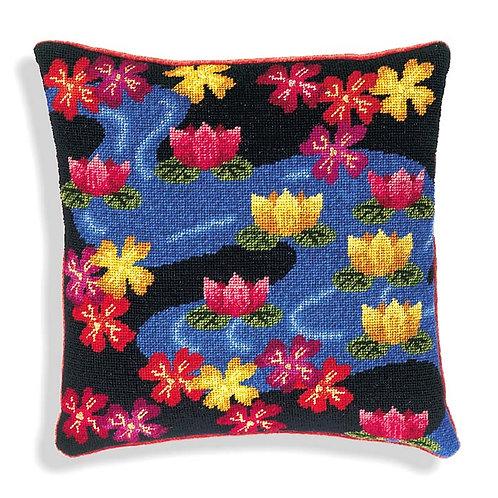 Lotus Flowers Needlepoint Cushion Kit