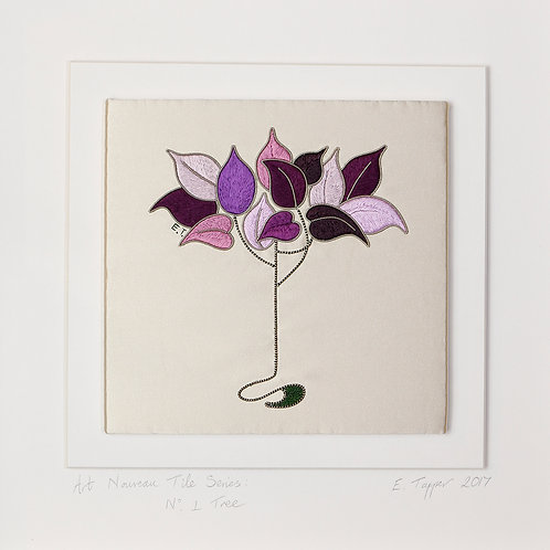 Embroidered Tile: Silk & Silver Tree