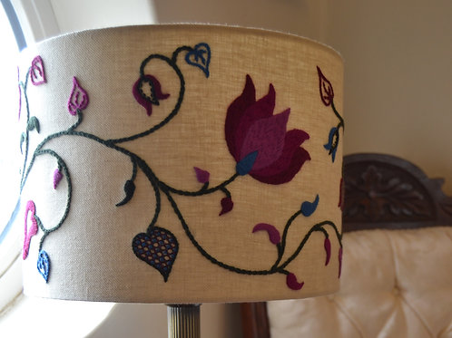Embroidered Lampshade: Crewelwork 'Tendrils' Summer