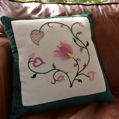 Crewelwork 'Tendrils' Cushion Kit: Spring