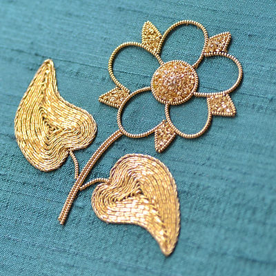 goldwork dog rose, metal thread, silver