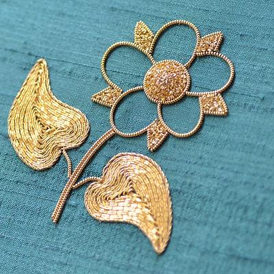 goldwork dog rose, metal thread, silver