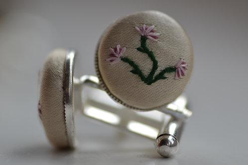 Sterling Silver Embroidered Cufflinks: Pink Cornflowers