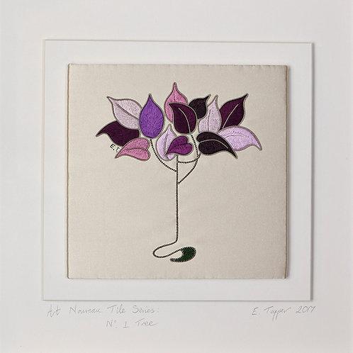 Embroidered Tile: Art Nouveau Tree
