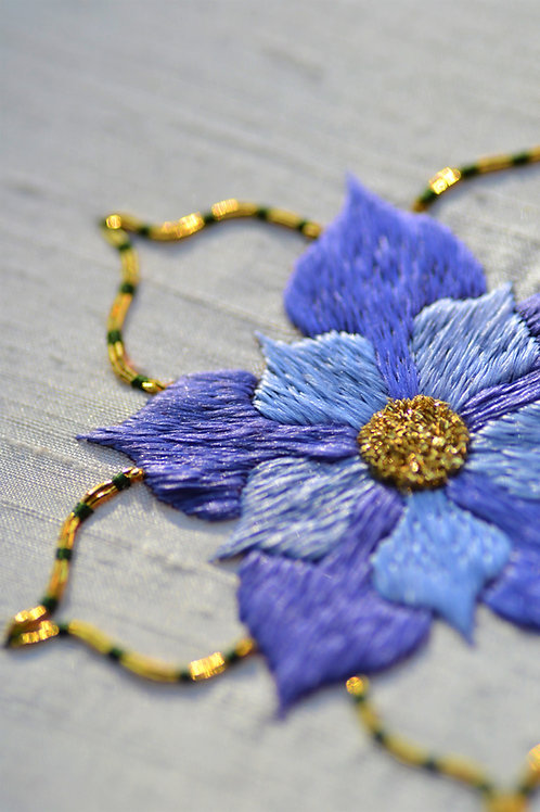 Silk & Gold Rose Embroidery Kit